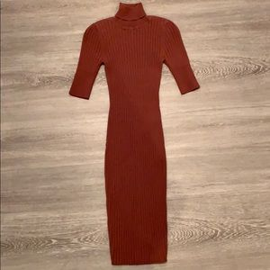 Burnt Orange Turtle Neck Bodycon Sweater Dress